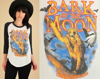 ViNtAgE 80's OZZY Osbourne T-Shirt // 1984 Bark at the Moon Tour 80's Concert Rock Metal Tee Raglan Tshirt M/L