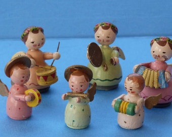 6 vintage wood musical angel figurines Italy