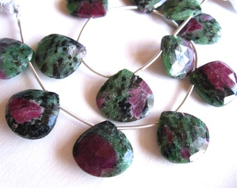 2 Ruby Fuschite top drilled faceted briolettes - large - for earrings - 18mm X 17mm