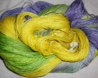 Hand dyed Tencel Yarn - 6/2 Tencel Lace Wt. Yarn  ANGEL - 630 yards