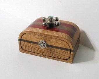 Steampunk Treasure Box With Secret Drawer Made From Three Woods