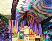 Boho Tent teepee Hippie Gypsy Summer of Love Purple Turquoise Blue Beach Fish Tribal Fest Concert Bed Canopy Hippie Bohemian Gypsy Decor