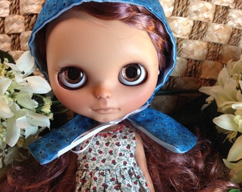 Blythe Clothes Hooded Cape Doll Clothes Blue Floral Prairie Spring Reversible