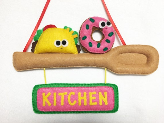 Felt Sign, Kitchen Spoon with Taco and Donut, Custom Color and Name, Door Sign, Welcome Sign