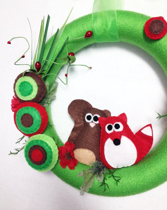 Fox and Squirrel Wreath, Yarn Wreath, New Growth - Red and Lime, Flowers, Felt Animals