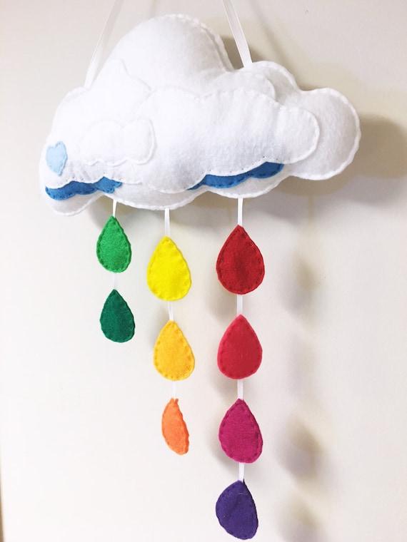 Rain Cloud Mobile - Rainbow Sprinkles, Made to Order, Felt Rain Drops, Wall Art, Nursery, Cloudy, Rainbow Decoration, Raindrops, Spring