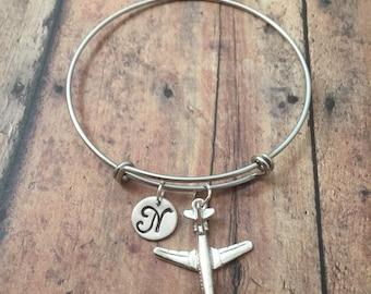 Airplane initial bangle - jet plane bangle, flight attendant jewelry, pilot jewelry, aviation jewelry, airplane bracelet, jet jewelry