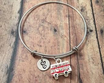 Double decker bus initial bangle - bus jewelry, travel jewelry, British jewelry, London bangle, two story bus bracelet, Europe UK jewelry