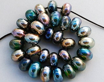 DSG Beads Debbie Sanders Artisan Handmade Glass Organic Lampwork-Made To Order ~Silver Bullet~ Petite Rounds