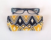 Eyeglass Case - Sunglass Case - Aztec - Magnetic Closure - Black and Yellow