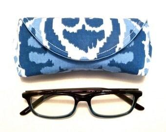 Eyeglass Case or Sunglass Case Blue White Ikat