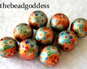 Wholesale Japanese Tensha Beads Clematis on Copper 12mm-9 Pieces COLORFUL