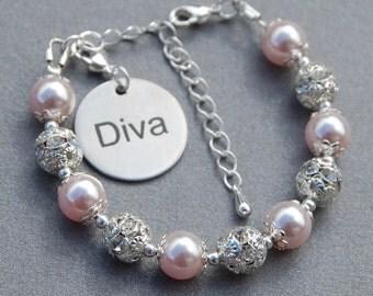 Diva Jewelry, Diva Gift, Diva Charm Bracelet, Word Bracelet, Gift for Her, Under 30, Sister Gift, Girl Jewelry