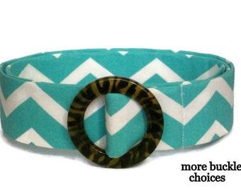 Chevron Belt / SALE / Aqua Fabric Belt / Wide D-ring Belt  / Blue White Ribbon Belt- Cloth Belt for Women and Teens