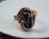 Black Tourmaline Wire Wrapped Ring, Raw Crystal Jewelry, Heady Wire Wrap, Sterling Silver, Copper