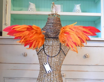 Real Feather Wings Pheonix Firebird Red and Orange Faerie wings Adult Costume made to order