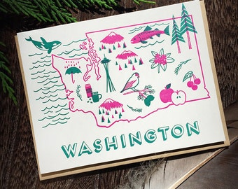 Washington State Love Letterpress Printed Card