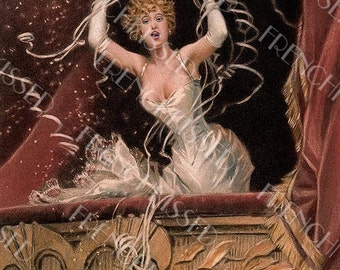 Lady at the Opera Streamers Confetti Celebration Antique Figaro Magazine Cover Digital Printable