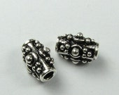 FLASH SALE Fancy Dotted Tube Beads Bali Sterling Silver 8mm (2 beads)