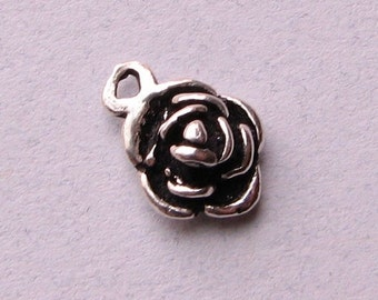 CIJ SALE Beautiful Rose Bali .925 Solid Sterling Silver Flower Blossom Charm Pendant (1 piece)