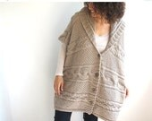 20% WINTER SALE Boyfriend Cardigan - Ecru Cable Knit Poncho Tunic with Hoodie Plus Size Over Size