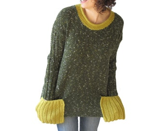 Tweed Green Tunic Sweater With Boat Neck and Pocket Detail