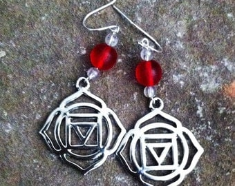 Root  Chakra (Muladahra) Earrings with Color Bead