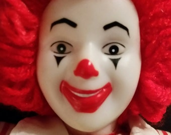 Vintage 1984 ronald mcdonald 12 inch clown doll soft striped plastic face red yarn hair advertising mcdonalds golden arches burger