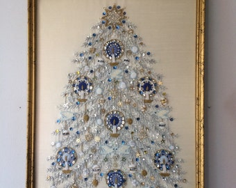 Vintage Embroidered Christmas Tree Art Mixed Media Collage Snow White Christmas Blue and Gold Holiday Decor Display