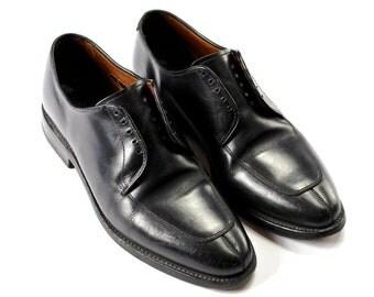 Vintage Allen Edmonds Delray Black Leather Oxford Split Toe Shoes Made in USA Mens Size 8 1/2