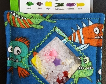 I Spy Bag - Mini with SEWN Word List and Detachable PICTURE LIST- Funny Fish