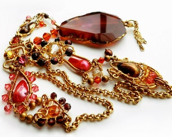 Citrine, Garnet Agate, Faceted Pearls and Swarovski Crystal Necklace