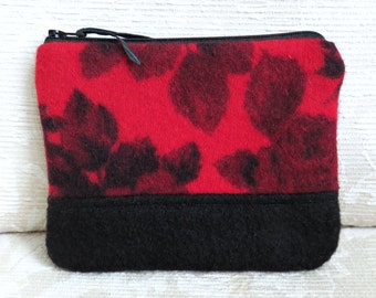 Red and Black Floral Zip Pouch, Small Recycled Wool Clutch