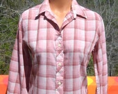vintage 70s western blouse SHADOW plaid pink women's button down shirt Medium soft