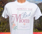 vintage 90s t-shirt simply the best MOM mother flowers tee Medium white