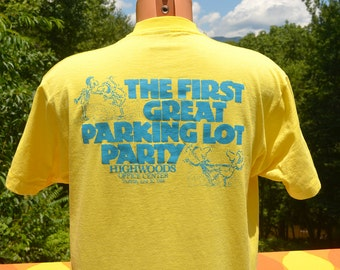vintage 80s t-shirt great PARKING LOT party highwoods office properties tee XL Large wtf