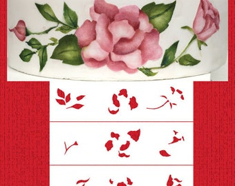 Multi-layer Painted Roses Cake Side Stencil - Designer Stencils (C948)