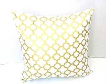 Gold Pillow Cover Metallic Gold Pillow Covers, White Gold Quartrefoil Pillow, Throw Pillow Cushion Cover, Square, Lumbar Pillow, Rectangle
