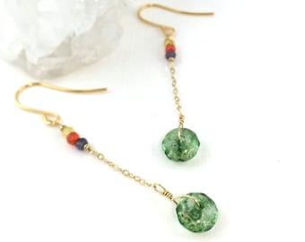 Green Tourmaline, October Birthstone, Dainty Gold Earrings, Precious Gem Earrings, Multi-gemstones, Modern Drop, Modern Artisan Drop