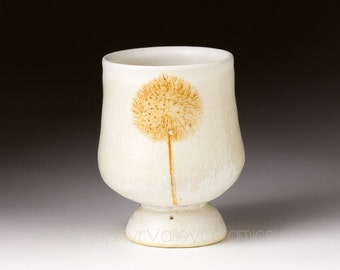 Ceramic Brandy Cup - Snifter - Pottery Wine Cup - Juice Cup - Pottery Glass - Handleless Mug - Antiqued Style - White Cup - Dandelion