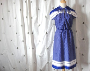 NOW ON SALE! Vintage Blue and White Dress, Polka Dots and Stripes, Short Sleeve, Summer Dress, Size Small or Medium, Handmade