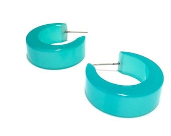 Seafoam Hoops | Teal Green Chunky Mod Moonglow Hoop Earrings | vintage lucite hoop earrings