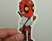 Deadpool Calavera Clear Die-cut Vinyl Sticker Day of the Dead