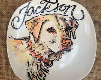 "Custom Porcelain Hand Painted Dog Plate 10"" for Birthday Special Occasion Wedding or Engagement Gift"