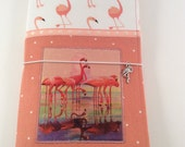CLEARANCE SALE - Flamingo Flock Appliquéd Standard Wide Fabric Fauxdori