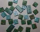 Mosaic Tiles Handmade and Hand Painted Green and Aqua 28 Clay Tiles