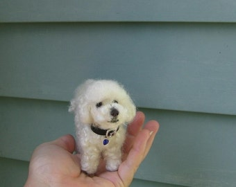 Needle Felting DOG Kit curly fur /DIY Craft Kit Deluxe/miniature felt/Felted white Poseable dog/Felting Needles Foam /BONUS collar nose Bed