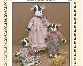 Dear Bessie, Cow Dolls, Two Sizes of Cows, 22 and 16 inch Cows, Prairie Farm Designs, Material List, Sewing Pattern, Sewing Supplies, Gifts