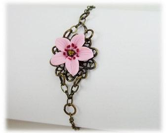 Cherry Blossom Clasp Bracelet - Cherry Blossom Jewelry, Sakura Filigree Bracelet, Sakura Jewelry