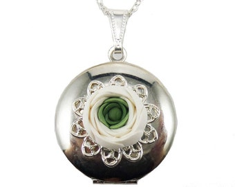 White Ranunculus Locket Necklace - Ranunculus Jewelry